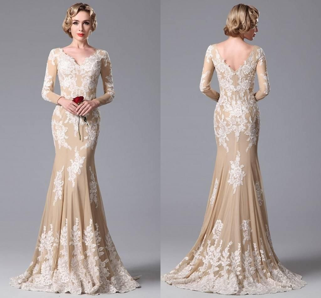Read to ship white lace nude mermaid prom dresses under long