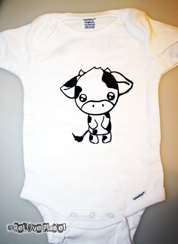 1f951e66b9b9 Cute COW ONESIE Organic Eco Baby Kids Kawaii by ReLovePlanet