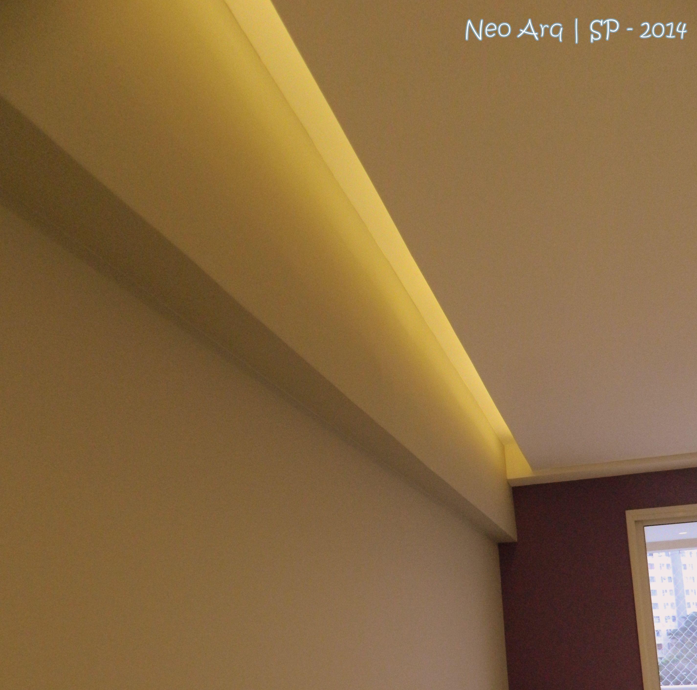 Detalhe De Ilumina O Indireta Com Led Em Forro De Gesso By Neo Arq  -> Modelo De Forro Rebaixado Em Apartamentos 51M2