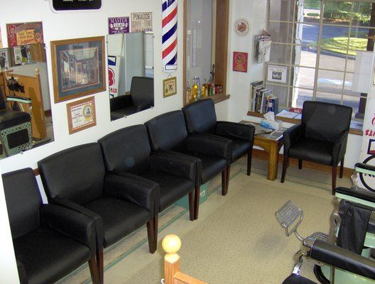 Reception Chairs Waiting Area Salon Decor Barbershop Design Barber Shop
