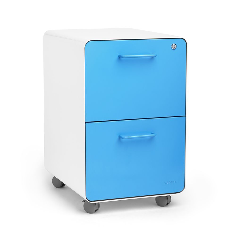 white + pool blue stow 2-drawer file cabinet, rolling,pool blue