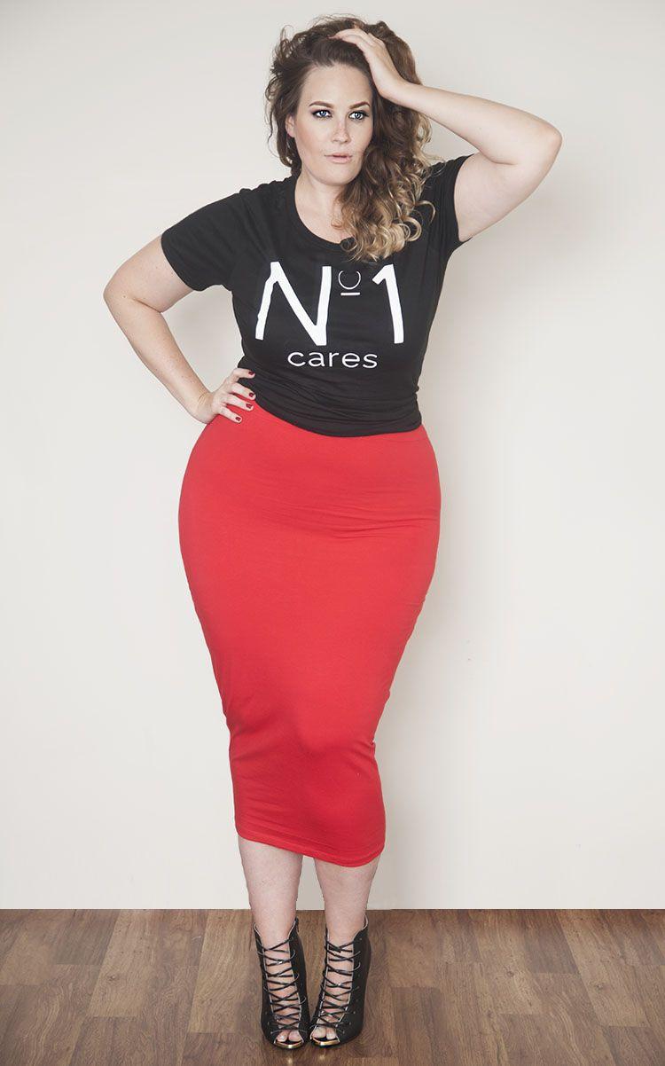 Red Body Conscious Midi Skirt Plus Size Fashion Plus Size Fashion Pinterest Red Bodies