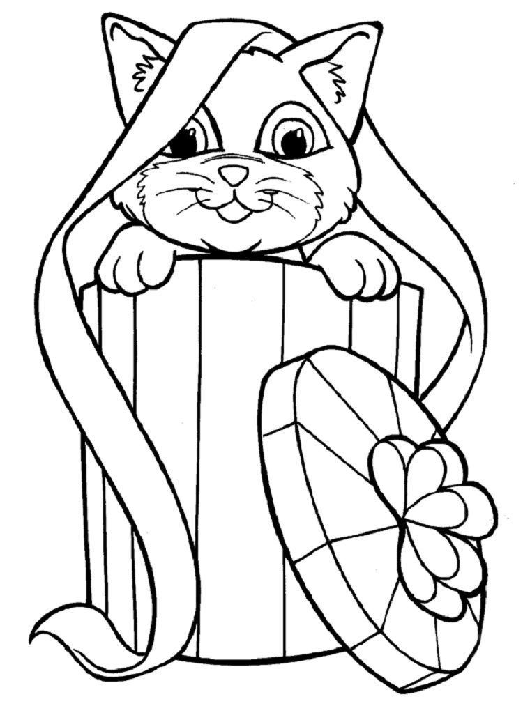 Christmas Kitten Coloring Pages Cat Coloring Page Christmas Coloring Pages Animal Coloring Pages