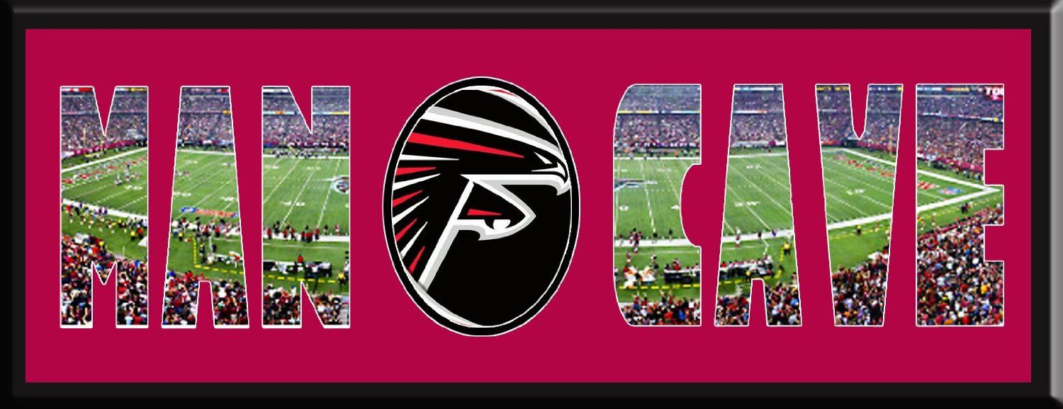 Man Cave Personalized Framed Atlanta Falcons Team Logo Georgia Dome Stadium Large Panoramic Showing I Atlanta Falcons Team Personalised Frames Georgia Dome