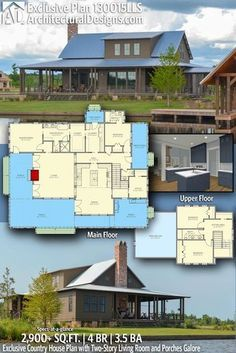 Plan LLS Exclusive Country House Plan with Two Story Living Room and Porches Galore