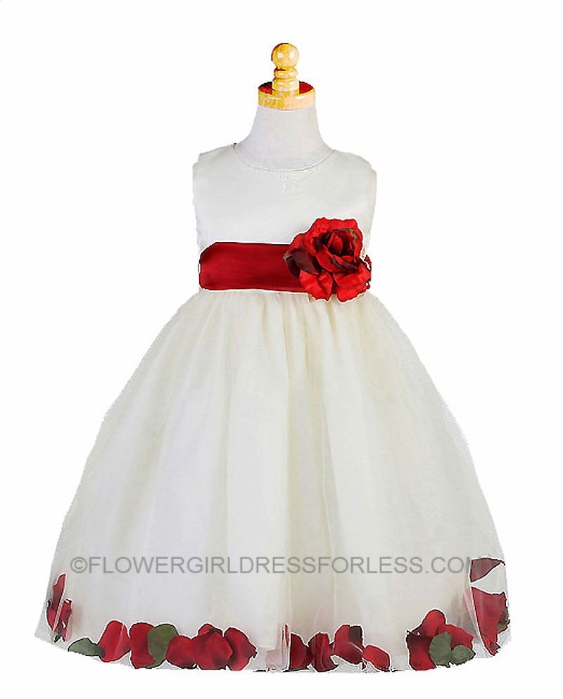 Ck596ir Flower Girl Dress Style 596 Ivory With Red Petal Dress