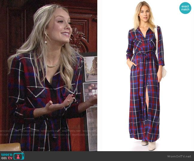 46e110f16ca6 Abby s plaid maxi shirtdress on The Young and the Restless. Outfit Details   https