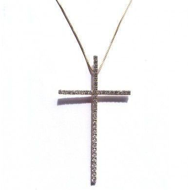 Colar com Crucifixo de Zircônias - Corrente modelo veneziana com pingente  de cruz cravejado de zircônias 4d9cfac62e