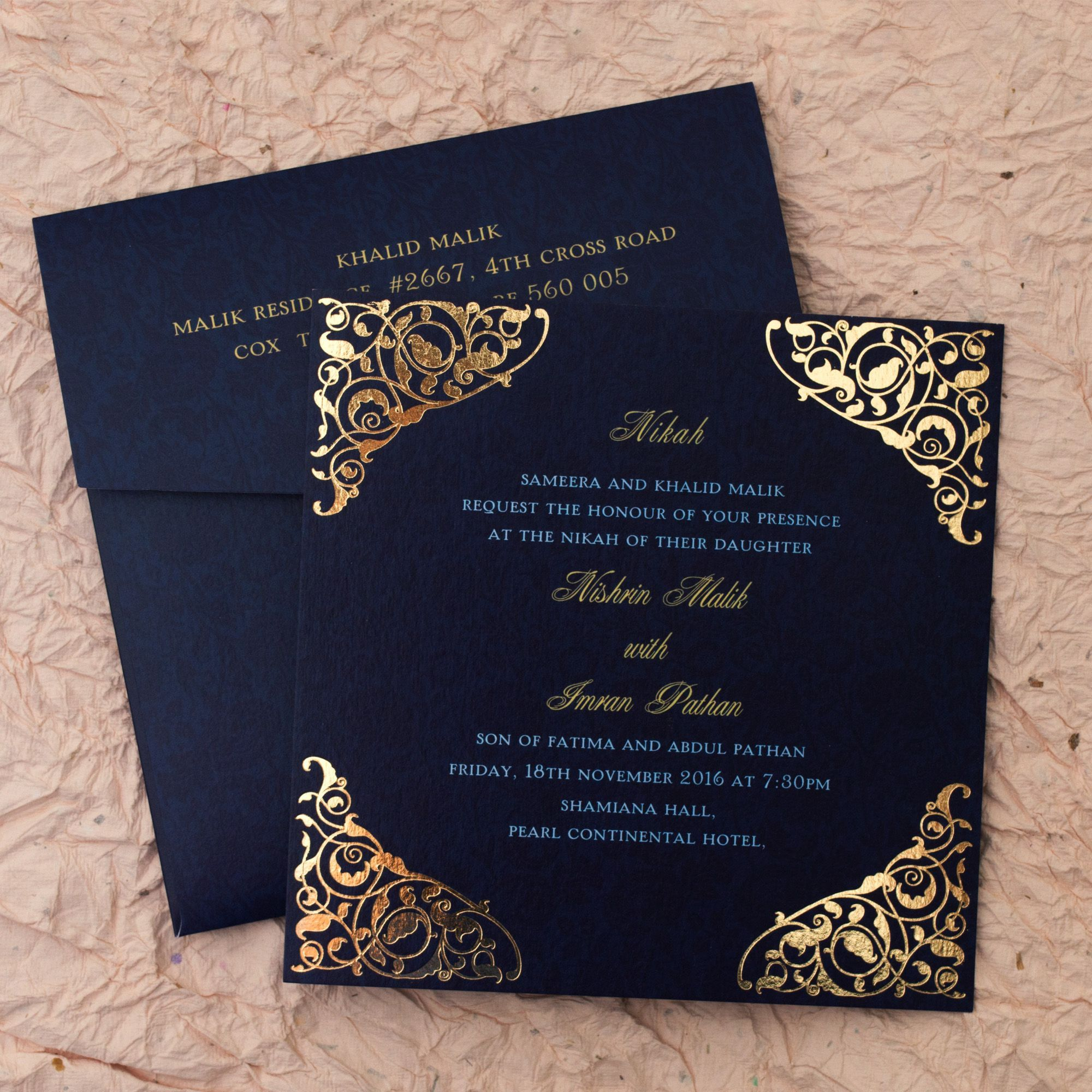 Gulshan Blue Wedding Islamic Cards Add A Touch Of Elegance To Your Nikah With This Handc Kartu Pernikahan Kartu Undangan Pernikahan Desain Undangan Perkawinan