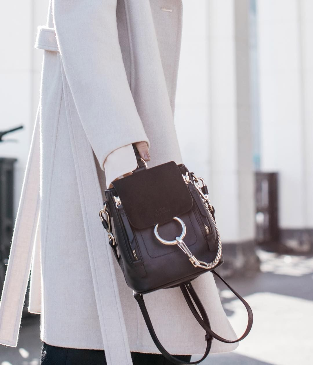 8e3d9a39b023 Chloé   Chloe   Faye   Backpack   Shoulder   Black   Leather   Suede ...