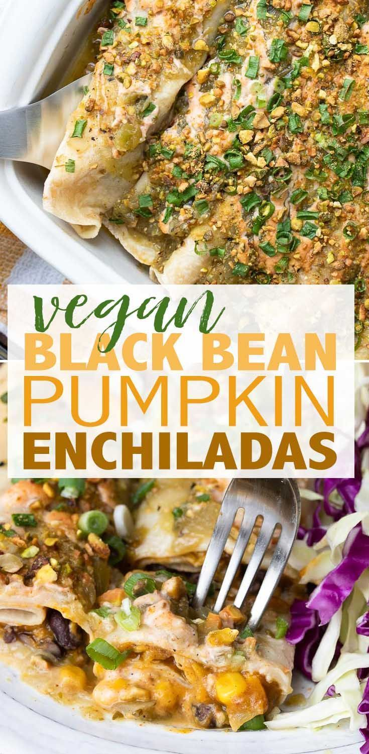 Black Bean and Pumpkin Enchiladas- Veggies Don't Bite #easymexicanfoodrecipes