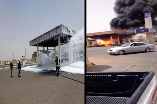 إخماد حريق في محطة وقود بحائل