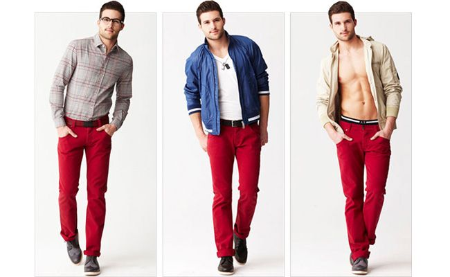 Image result for red colored pants for men