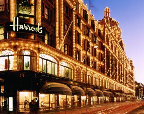 England,London,long exposure shot of Harrods building lit up at night