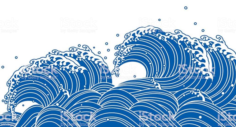 Blue Wave Japanese Style Wave Illustration Wave Art Japanese Art