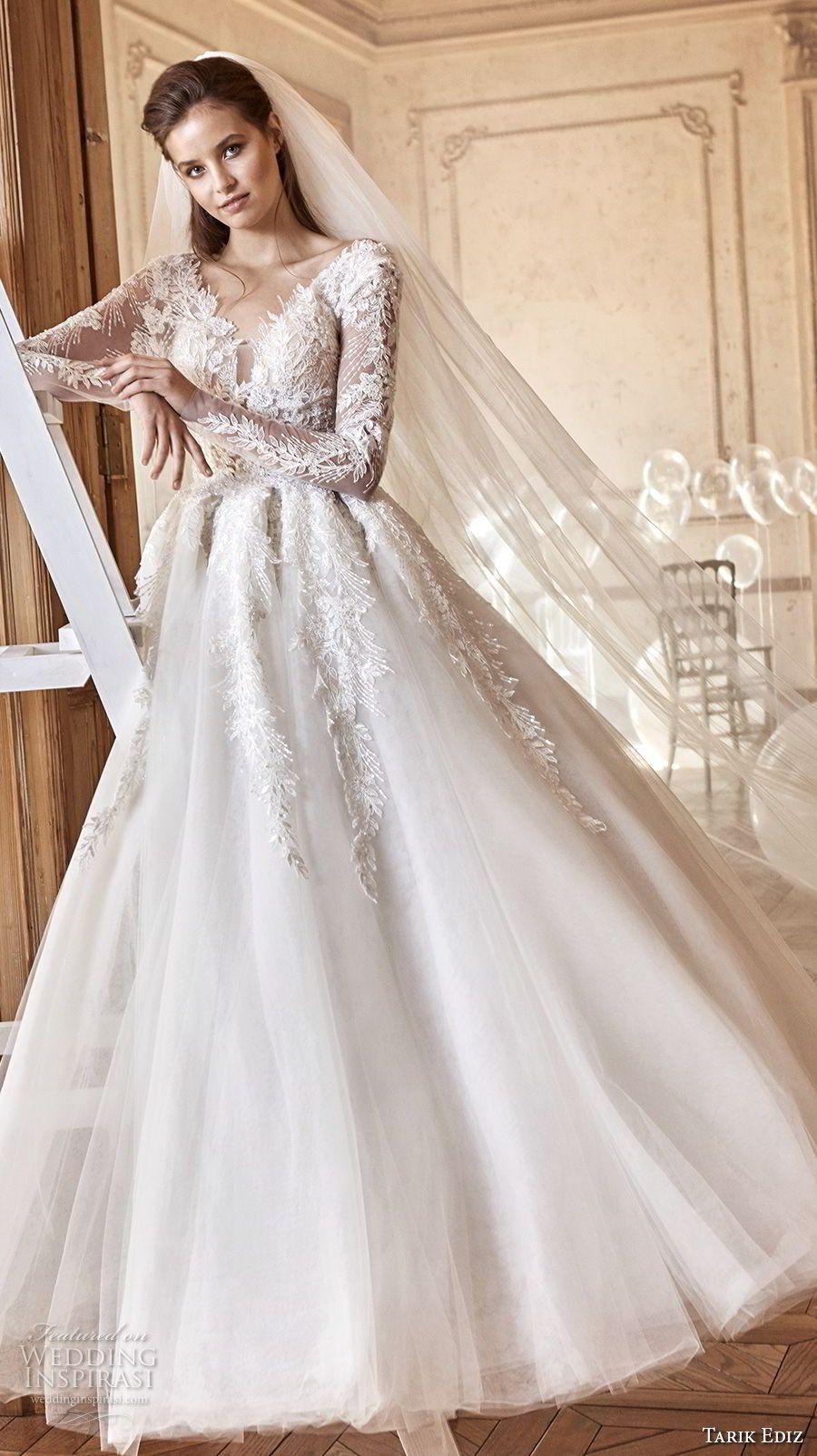Tarik Ediz 2017 Bridal Long Sleeves V Neck Heavily Embellished Bodice A Line Wedding Dress 24 Mv White Dresses