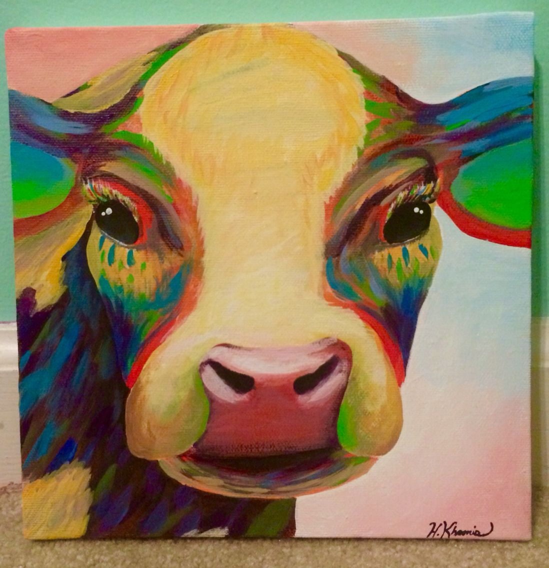 Acrylic canvas art // cow // colorful // college dorm or apartment ...