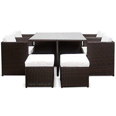 Harts Luxury Rattan Cube set -  Piece Dining Set Wicker patio