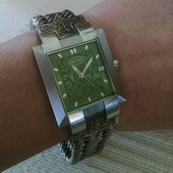 "Rare Vintage Lois Hill Watch No longer made. .925 silver Figure 8 weave band with filigree details. Stainless Steele face with a GORGEOUS green filigree face. This is to die for. Fits 9"" wrist, would need jeweler to adjust length. Working battery. Lois Hill Accessories Watches"