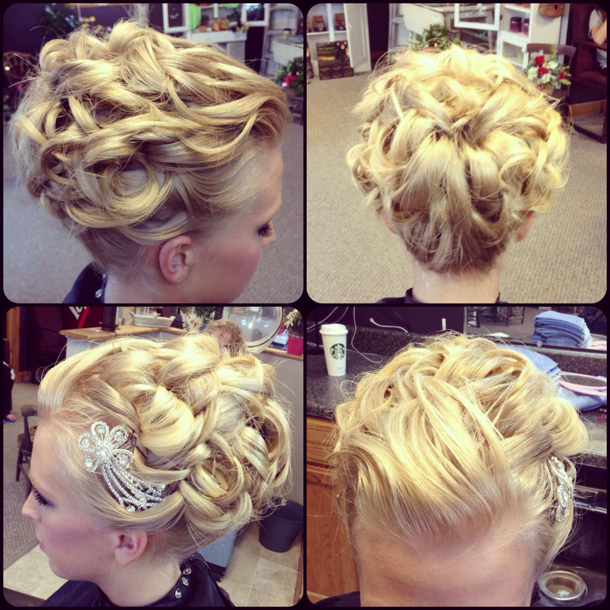 prom hair updo upstyle blonde curls curly pinned up cute