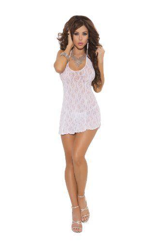 Elegant Moments Women's Plus-Size Lace Halter Mini Dress, White ...