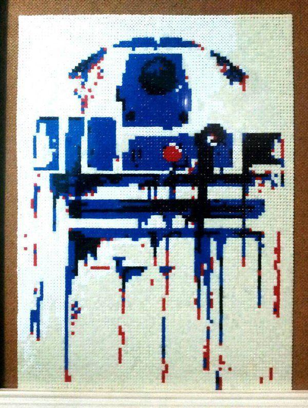 R2-D2, Star Wars Hama Bead Art by smile1606 (10,440 beads) | Cross ...