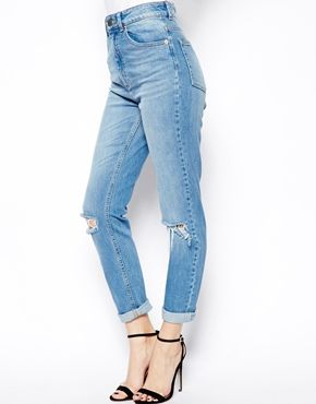 ASOS Farleigh High Waist Slim Mom Jeans in Vintage Wash with Busted Knees 5147f67ec88d