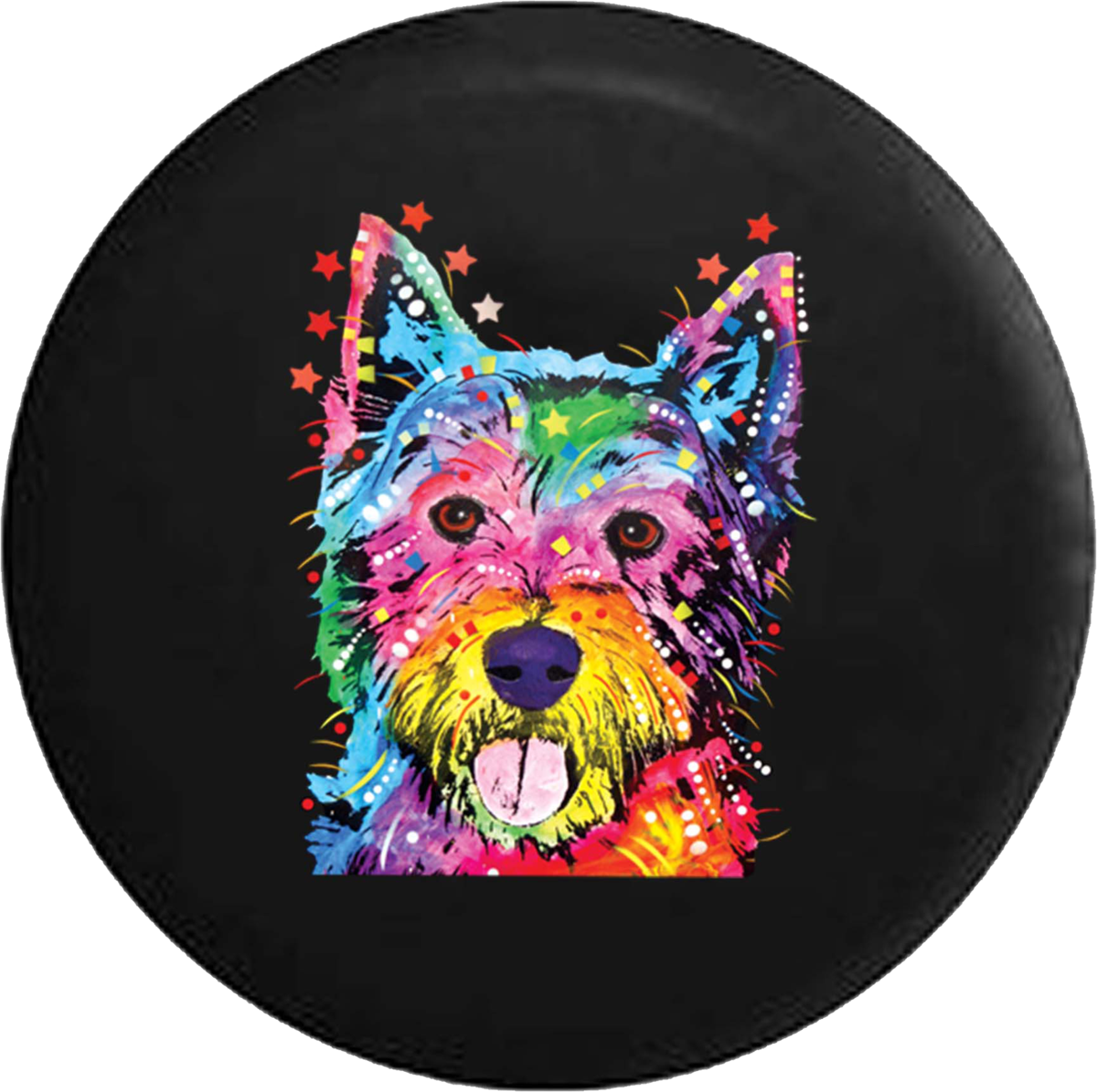 Yorkie Small Happy Neon Dog Tongue Out Jeep Camper Spare Tire