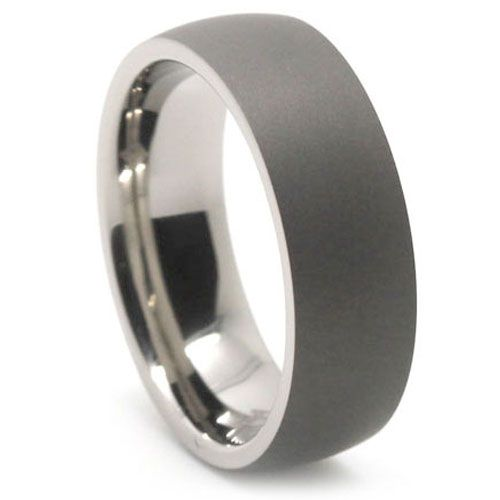 Dark Matte Finish Titanium Dome Mens Ring Titanium Rings For Men Mens Wedding Rings Titanium Rings For Men