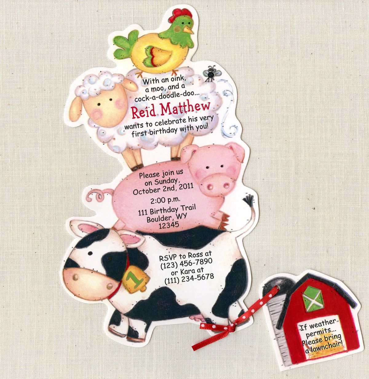 Party Animal 1st Birthday First Birthday Ideas: 24 Farm Animal Birthday Party Invitations