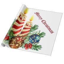 Christmas Candles - Wrapping Paper  #christmascandles #wrappingpaper #merrychristmas #candles #www.artzdizigns