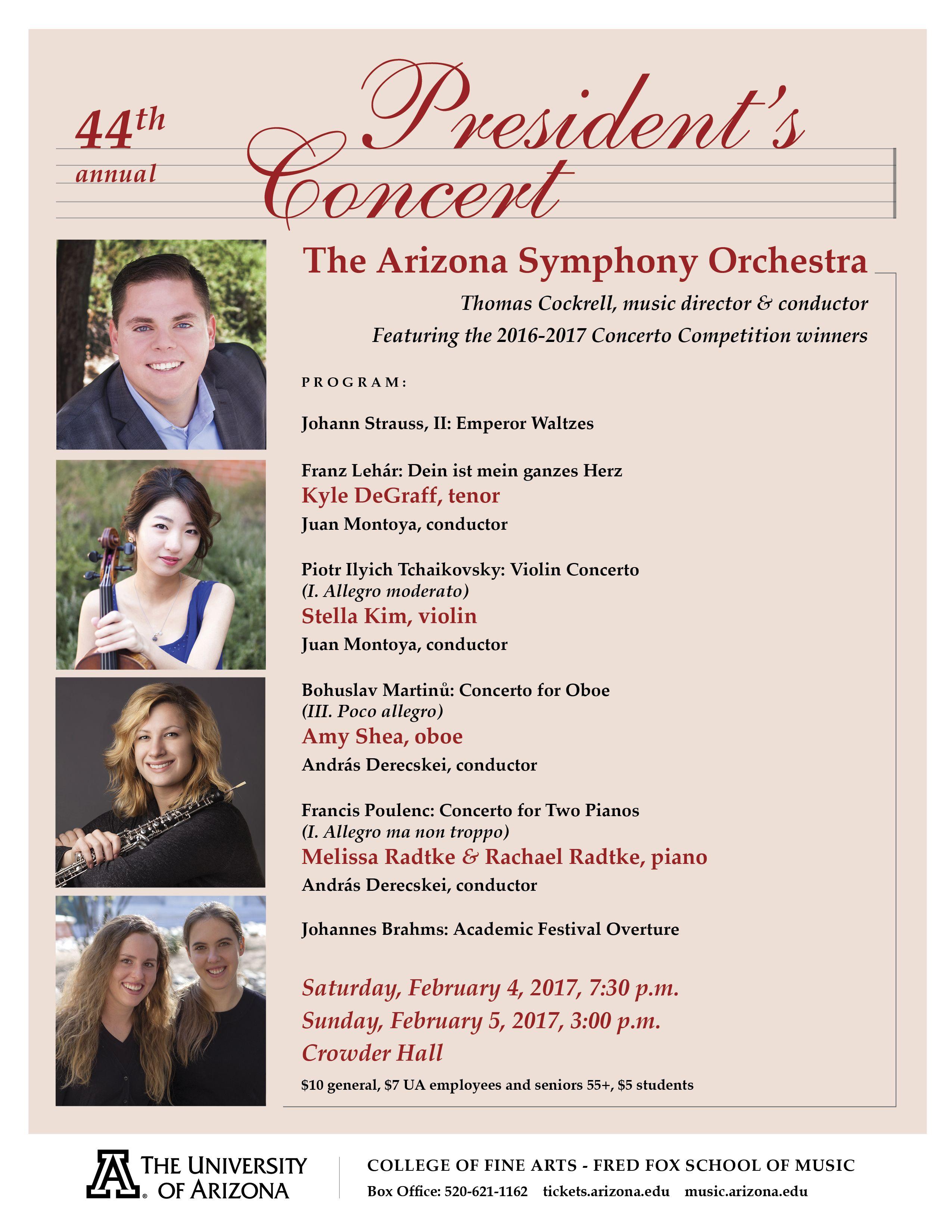 School Of Music At The University Of Arizona Arizona Symphony Orchestra 44th Annual President S Concert Arizona School University Of Arizona Music
