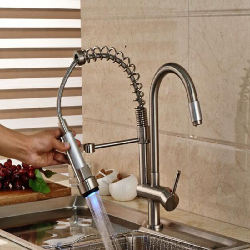 Luxury Led Color Changing Kitchen Sink Faucet Double Sprayer