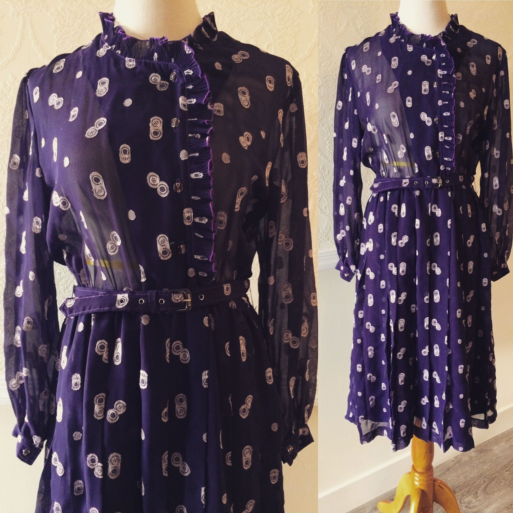 Purple sheer/chiffon vintage style long-sleeve dress~clasps at high neck. buttoned sleeves. belted waist ~ size medium/large $40.00 + shipping💐