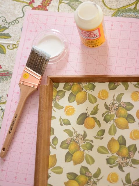 How to Decoupage a Wooden Tray With Decorative Paper