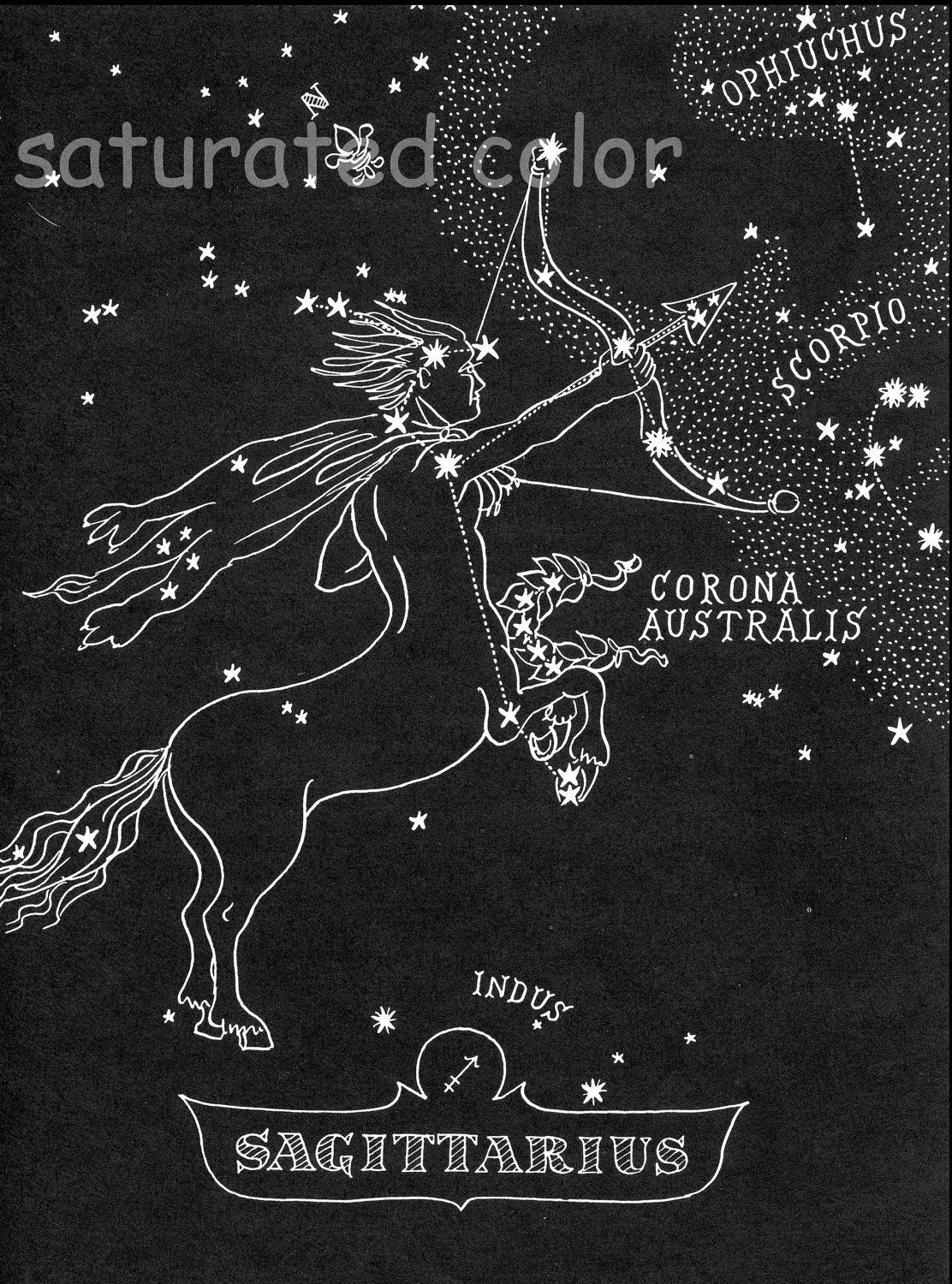 Sagittarius Star Chart Map Zodiac Constellation Stars From - Zodiac constellations map