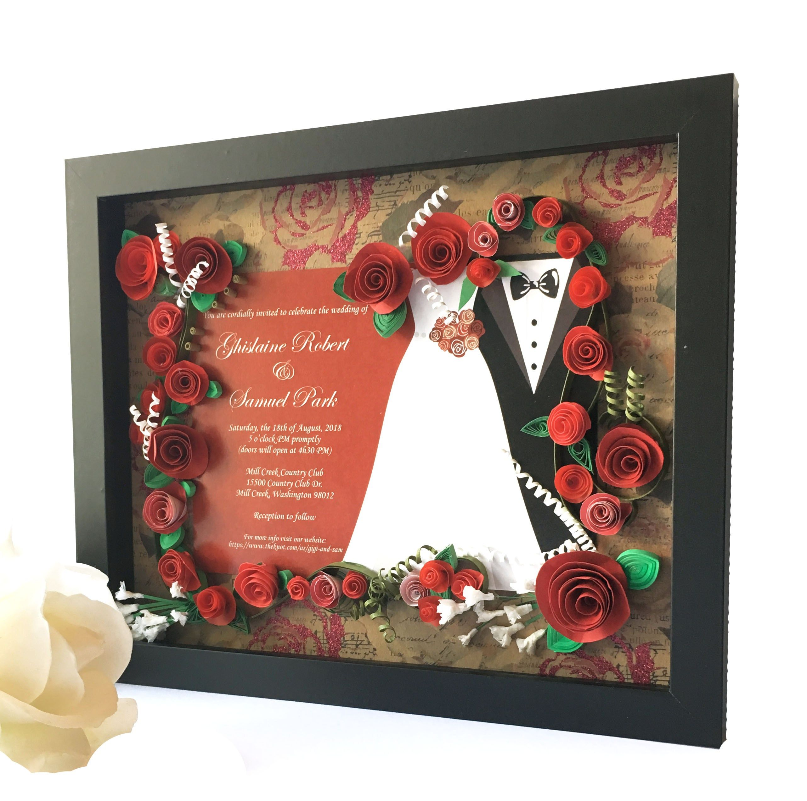 Rose Themed Wedding Invitation Keepsake Gift for Couple in 2018 ...