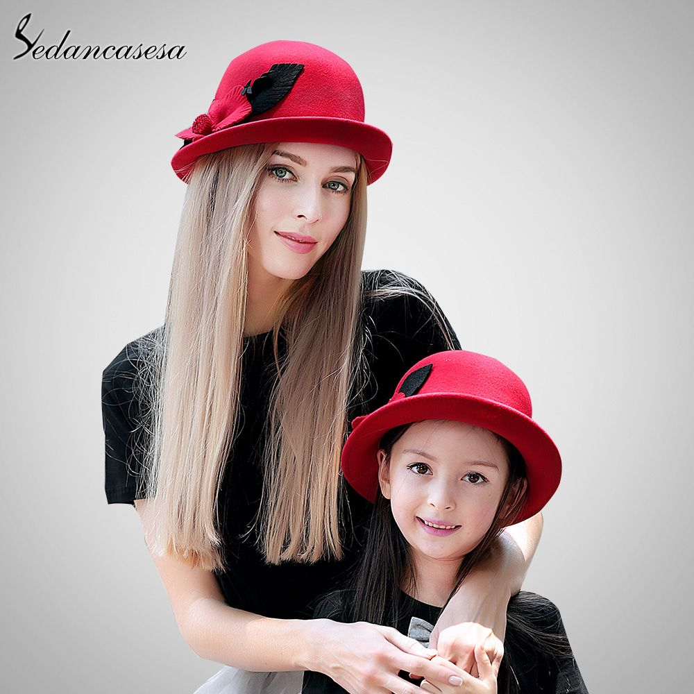 a349f894136 Parent-child Hat with Australian Wool Cute Flower Cloche Hat For Female  Wool Felt Hat Bucket Hat Oh just take a look at this!  shop  beauty  Woman s  fashion ...