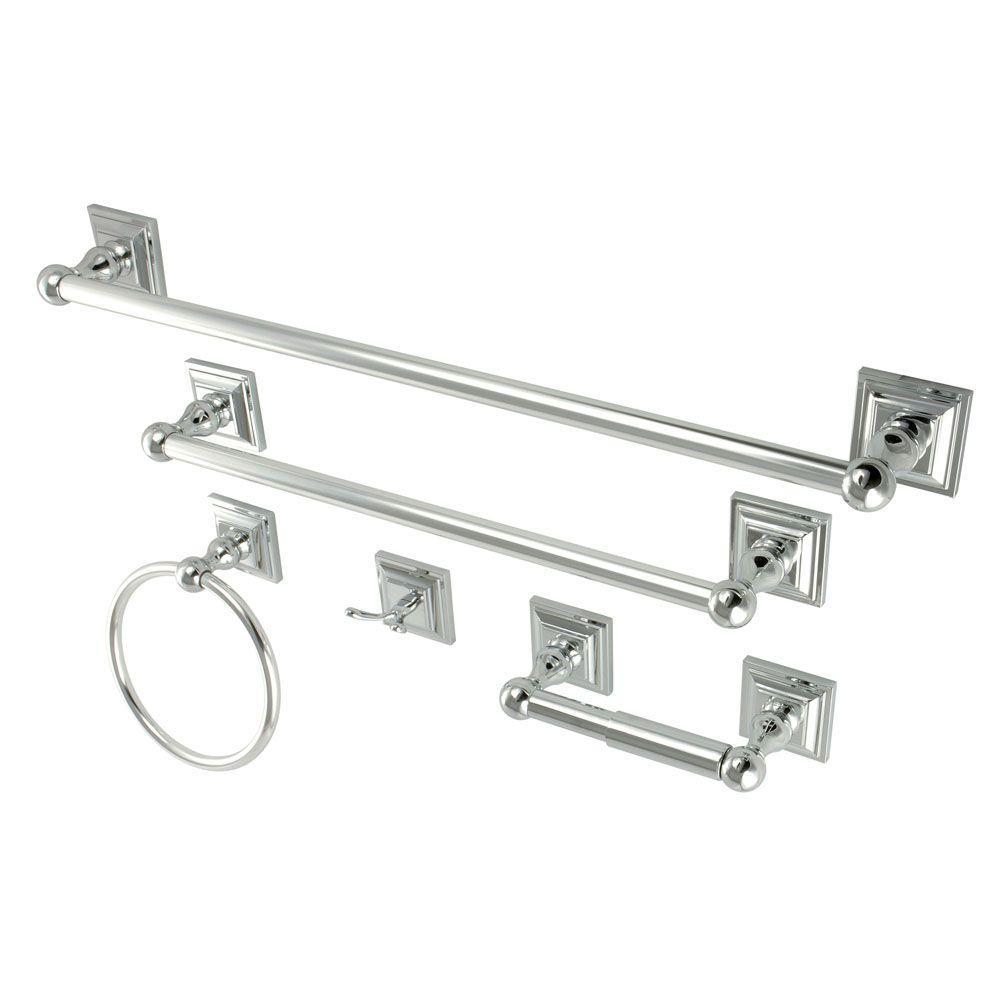 Kingston Brass 5 Piece Bathroom Accessory Set In Chrome