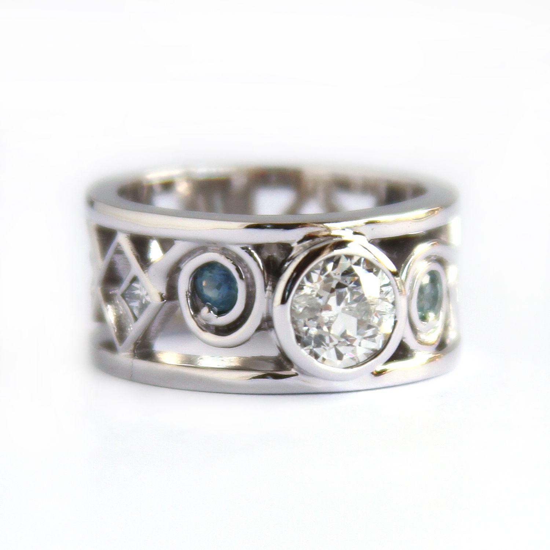 Sapphire and diamond band Wedding ring redesign, Jewelry