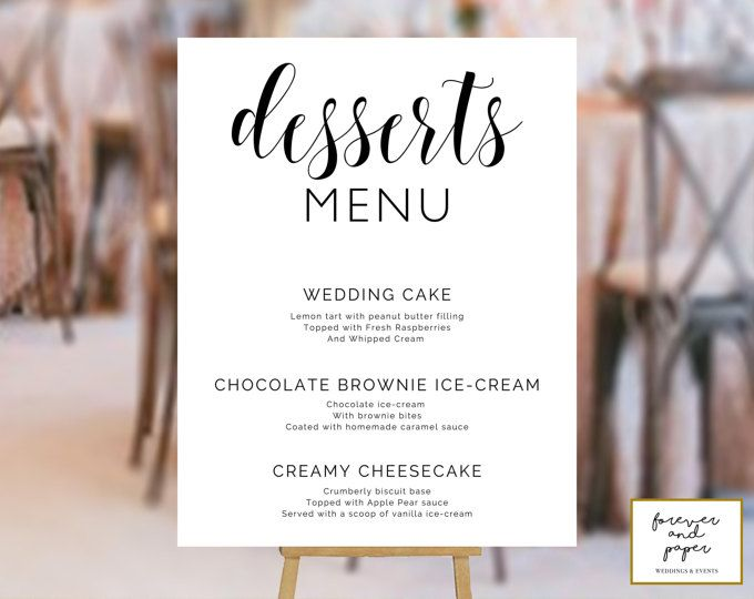 Dessert Table Sign, Dessert Bar Sign Wedding, Dessert Menu Sign - dessert menu template