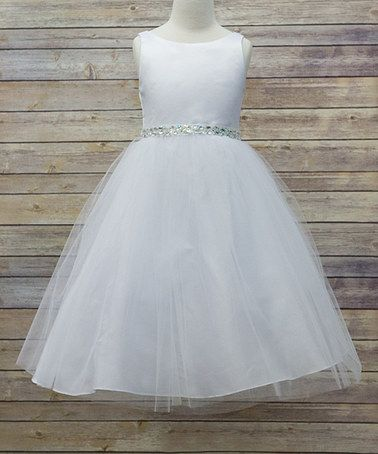 Look what I found on #zulily! White Satin & Tulle Belted Flower Girl ...