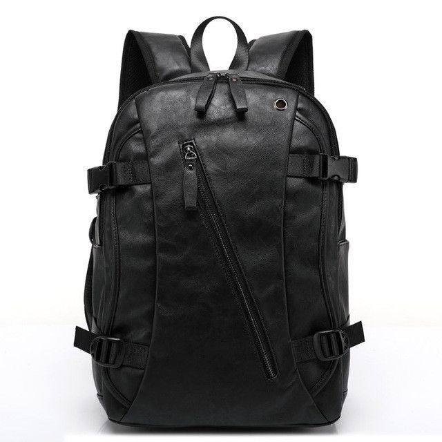 Beaumais Brand Men School Backpacks High Quality PU Leather Backpack  Vintage Men Casual Travel Bags Backpack for Laptop 1042641fec1c6