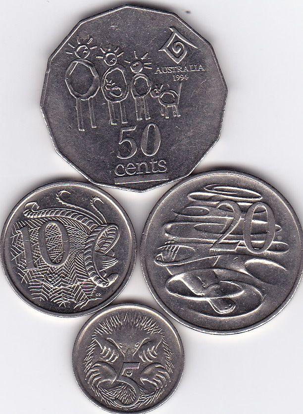 1994 Australian 50 Cent 2O Cent 10 Cent 5 Cent Coins | eBay
