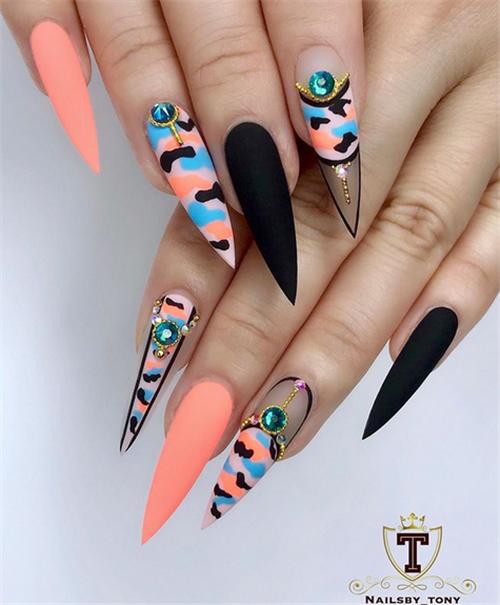 Gorgeous Acrylic Stiletto Nails Design In Summer Nail Art Connect Stilettonails Acrylicnails Summernails Lilac Nails Stiletto Nails Designs Sunflower Nails