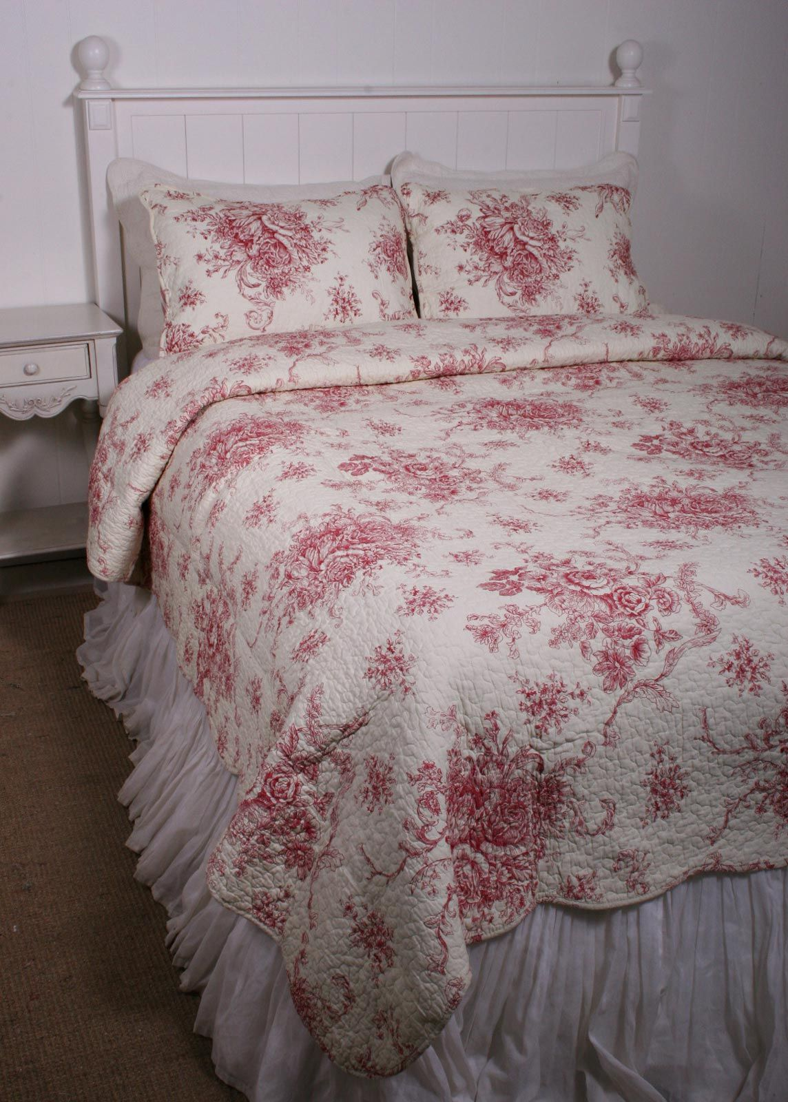 Ballard French Country Style Red Toile Quilt French