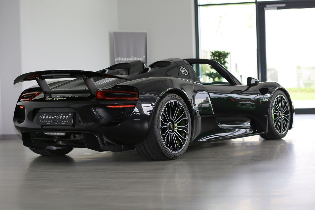 a black porsche 918 spyder is currently for sale in germany