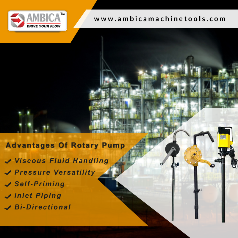 Checkout these following advantages of #RotaryPump, when you are planning to buy it:  1.Viscous Fluid Handling 2.Pressure Versatility 3.Self-Priming 4.Inlet Piping 5.Bi-Directional  https://goo.gl/BxNgMd