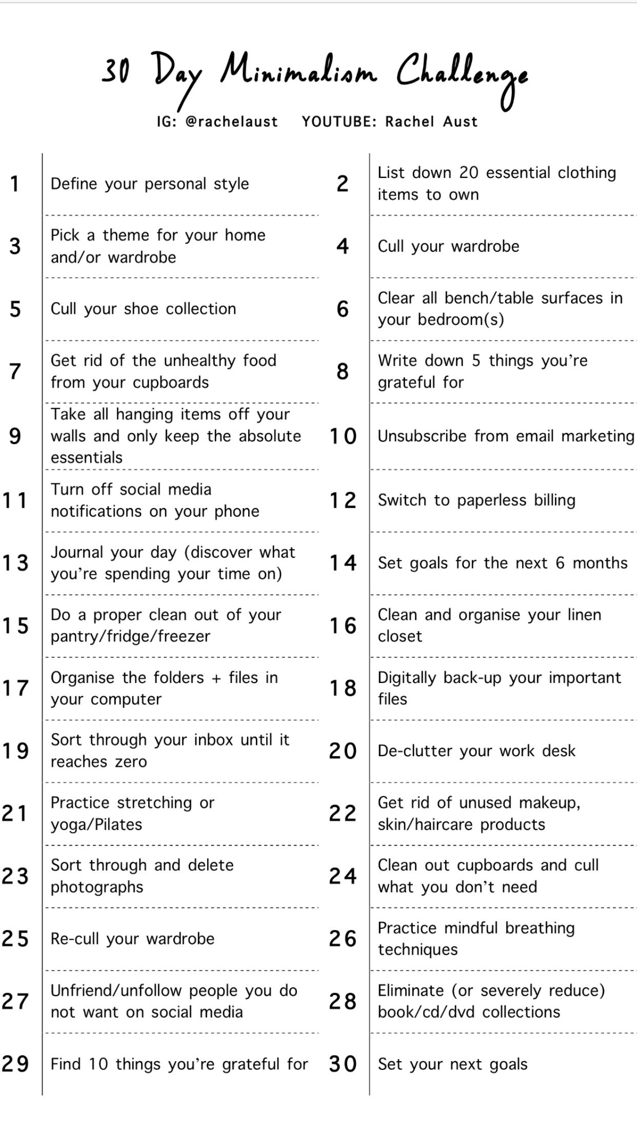 30 Day Minimalist Challenge Rachel Aust Minimalist Challenge Minimalism Lifestyle Minimalism