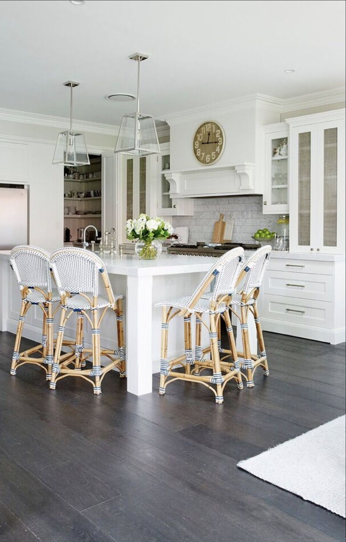 Featuring our French Bistro Counter Stools in Navy & White - Our Lovely Clients Kitchen. Featuring Our French Bistro Counter